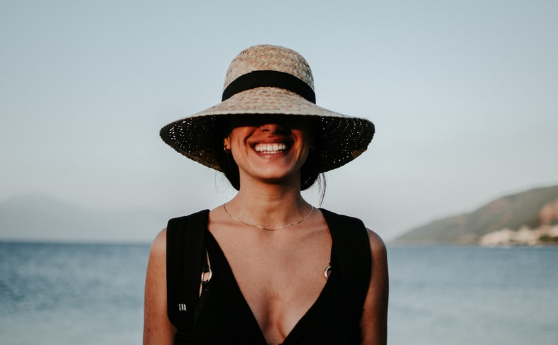 Smiling woman.