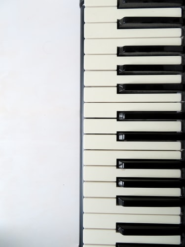 Piano keys from above.