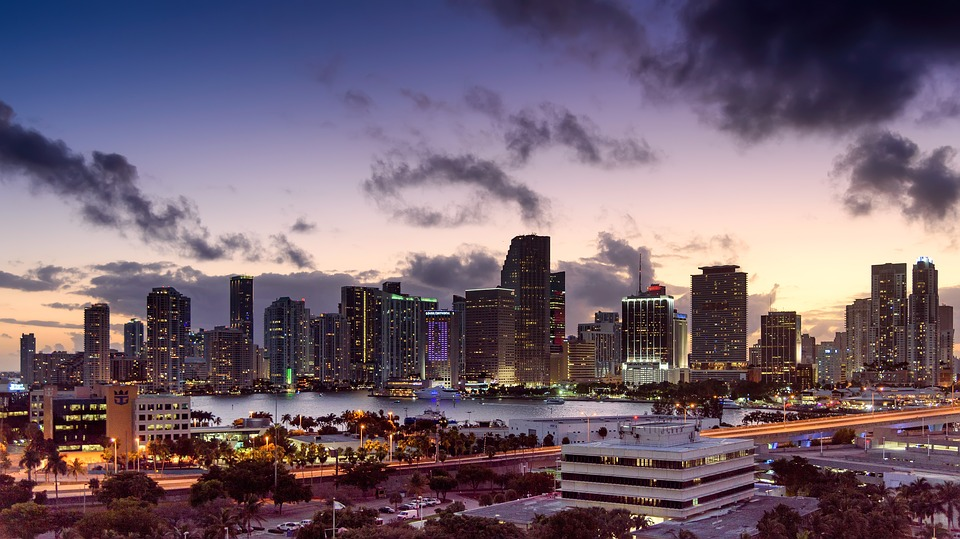 An aerial view of Miami during sunset.