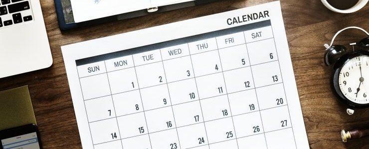A calendar to schedule furniture donation pick up Miami.