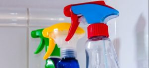 Picture of cleaning product bottles