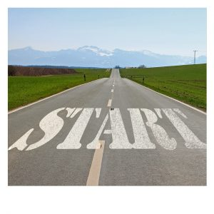 "Road with ""start"" written on it"