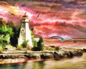 image of a painted lighthouse