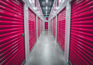 Storage units with pink doors