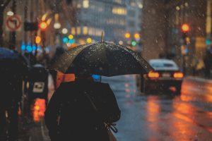 person holding a black umbrella