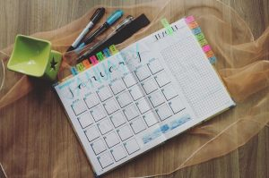 A planner with writting materials