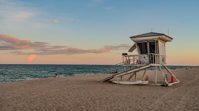 lifeguard station on an empty beach.