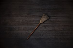 A broom lying on the floor