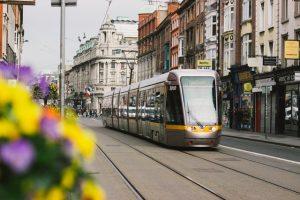 A tram in a lovely European town