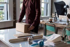 A man unpacking