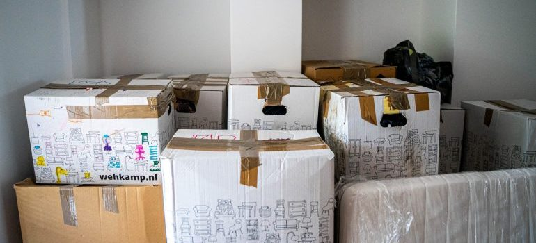 Moving boxes ready for relocation
