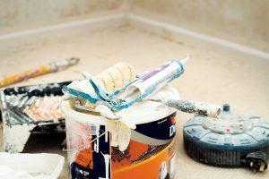 Paint in a bucket.