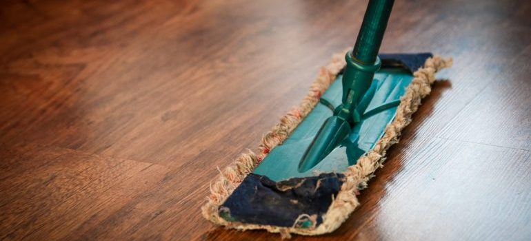 A mop cleaning a floor