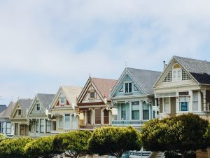a row of colorful houses