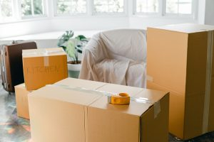 sofa and boxes