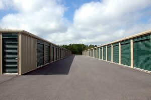a street with storage spaces
