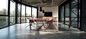 big office space with long table and chairs