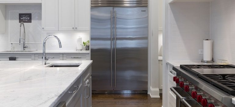 kitchen with the fridge