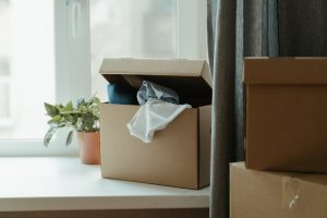 cardboard box on a window