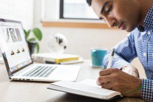 Man is writing