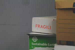Fragile items in the boxes