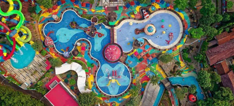 A birds eye view of a water park