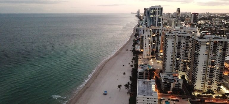 aerial view of the beach and the city is where movers Hallandale Beach operate
