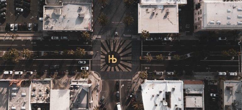 Hermosa Beach LA square aerial view