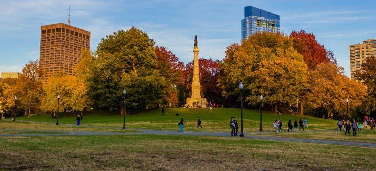 Boston Public Garden in fall