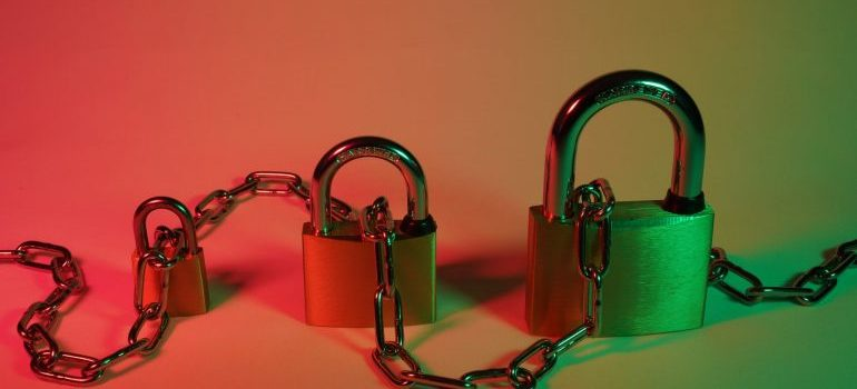 Padlocks laced with a chain