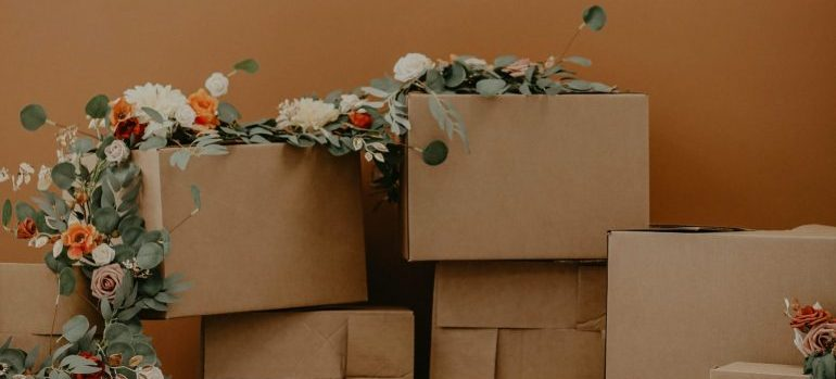 Packing boxes with flowers on them