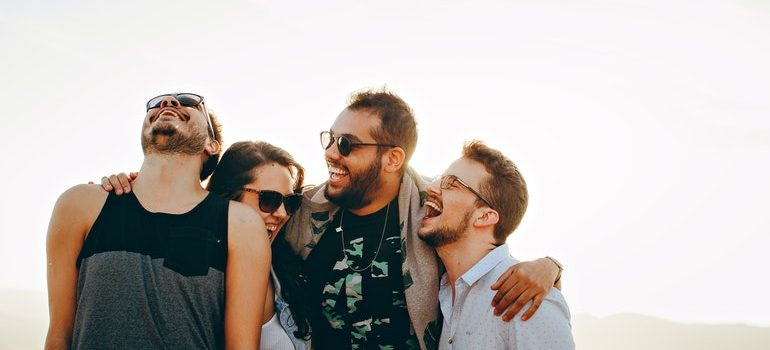 Friends laughing together.