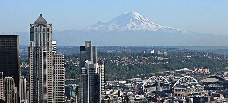Seattle with Mt, Rainier at the back