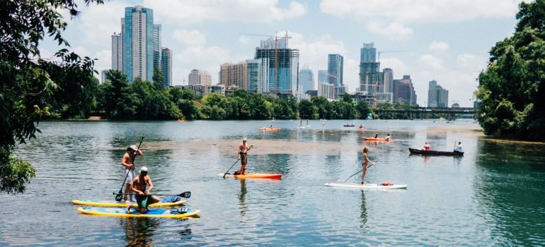 People paddle-boating in Austin TX