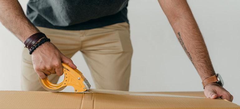 A man packing