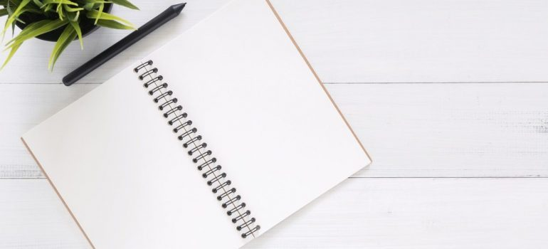 A pen and a notebook